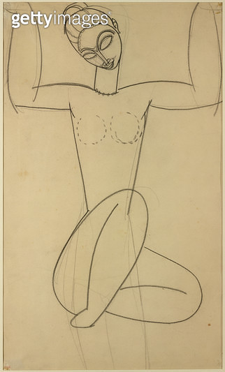 <b>Title</b> : Seated Caryatid, c.1911 (charcoal on paper)<br><b>Medium</b> : charcoal on paper<br><b>Location</b> : Private Collection<br> - gettyimageskorea