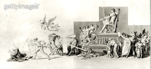 <b>Title</b> : Triumph of the French People over the Monarchy, project for an opera curtain, 1794 (pen and ink and wash on paper) (b/w photo)<br><b>Medium</b> : pen and ink and wash on paper<br><b>Location</b> : Musee de la Ville de Paris, Musee Carnavale - gettyimageskorea