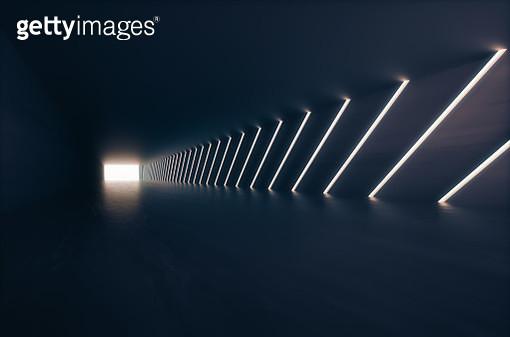 Empty futuristic corridor background - gettyimageskorea