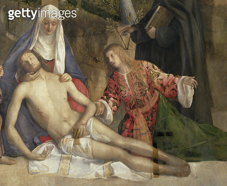 <b>Title</b> : Mourning the Dead Christ at the Foot of the Cross (oil on canvas)  (detail of 61134)Additional Infoformerly attrib. to Rocco Mar<br><b>Medium</b> : oil on canvas<br><b>Location</b> : Galleria dell' Accademia, Venice, Italy<br> - gettyimageskorea