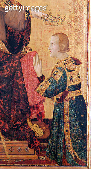 <b>Title</b> : St. Louis of Toulouse (1274-97) crowning his brother, Robert of Anjou (1278-1343) from the Altar of St. Louis of Toulouse, 1317 (tempera on panel) (detail of 183716)<br><b>Medium</b> : tempera on panel<br><b>Location</b> : Museo e Gallerie  - gettyimageskorea