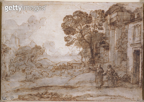 <b>Title</b> : Landscape with Abraham Expelling Hagar and Ishmael, c.1665-67 (pen and ink and wash over chalk on paper)<br><b>Medium</b> : pen and ink and wash over chalk on paper<br><b>Location</b> : Fitzwilliam Museum, University of Cambridge, UK<br> - gettyimageskorea