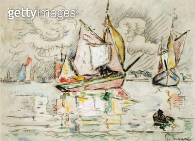 <b>Title</b> : Fishing Boats (charcoal, w/c and gouache on paper)<br><b>Medium</b> : charcoal, watercolour and gouache on paper<br><b>Location</b> : Fitzwilliam Museum, University of Cambridge, UK<br> - gettyimageskorea