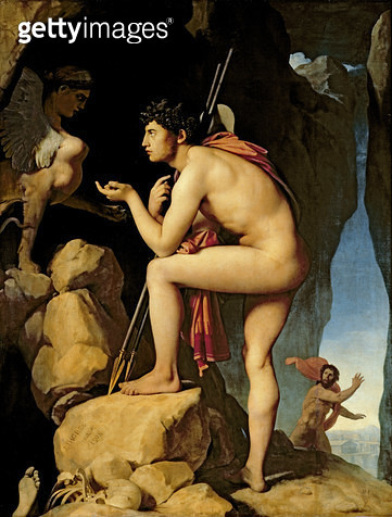 <b>Title</b> : Oedipus and the Sphinx, 1808 (oil on canvas)Additional InfoOedipe et le Sphinx; mythe; enigme;<br><b>Medium</b> : oil on canvas<br><b>Location</b> : Louvre, Paris, France<br> - gettyimageskorea