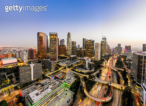 Aerial image of downtown Los Angeles, California at night - gettyimageskorea