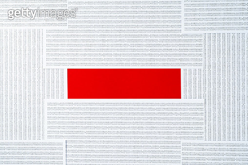 Red Colored Minus Sign Made of Datasheets Pile Directly Above View. - gettyimageskorea