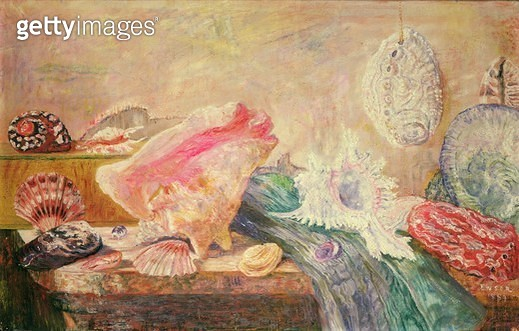 <b>Title</b> : Shells and Shellfish, 1889 (oil on canvas)<br><b>Medium</b> : oil on canvas<br><b>Location</b> : Private Collection<br> - gettyimageskorea