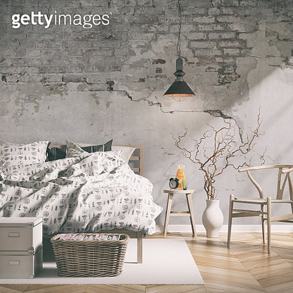 Bedroom with decoration on hardwood floor in front of ruined  white brick wall with copy space. Slight cross process added. 3D rendered image. - gettyimageskorea