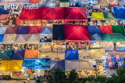 photo of night market high view from building colorful tent retail shop and lighting - gettyimageskorea