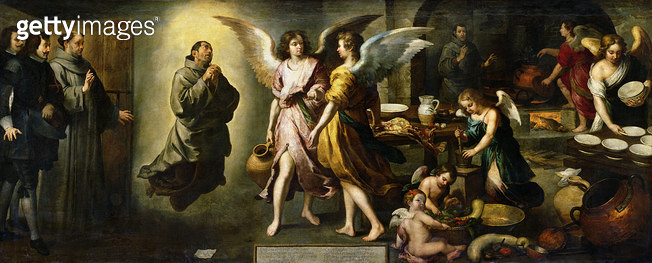 <b>Title</b> : The Angels' Kitchen, 1646 (oil on canvas)<br><b>Medium</b> : oil on canvas<br><b>Location</b> : Louvre, Paris, France<br> - gettyimageskorea