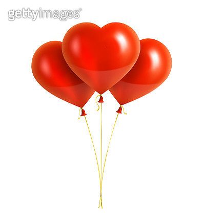 Red Heart Shaped Balloons with Yellow Ribbons - gettyimageskorea