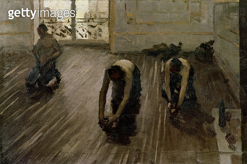 <b>Title</b> : Study for 'The Parquet Planers', 1875 (oil on canvas)<br><b>Medium</b> : oil on canvas<br><b>Location</b> : Private Collection<br> - gettyimageskorea