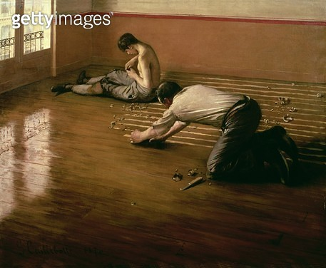 <b>Title</b> : The Parquet Planers, 1876 (oil on canvas) (small version)<br><b>Medium</b> : oil on canvas<br><b>Location</b> : Private Collection<br> - gettyimageskorea