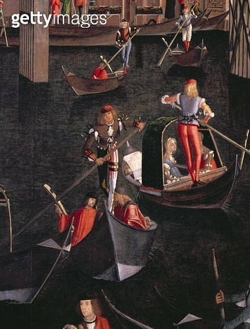 <b>Title</b> : Gondoliers on the Grand Canal, detail from The Miracle of the Relic of the True Cross on the Rialto Bridge, 1494 (oil on canvas)<br><b>Medium</b> : oil on canvas<br><b>Location</b> : Galleria dell' Accademia, Venice, Italy<br> - gettyimageskorea