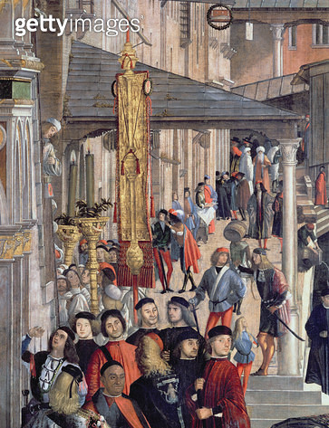 <b>Title</b> : Street Scene, detail from The Miracle of the Relic of the True Cross on the Rialto Bridge, 1494 (oil on canvas)Additional InfoMi<br><b>Medium</b> : oil on canvas<br><b>Location</b> : Galleria dell' Accademia, Venice, Italy<br> - gettyimageskorea