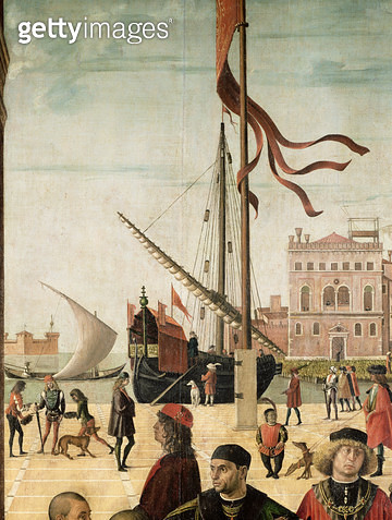 <b>Title</b> : The Arrival of the English Ambassadors at the Court of Brittany, from the Legend of Saint Ursula (oil on canvas) (detail)Additio<br><b>Medium</b> : <br><b>Location</b> : Galleria dell' Accademia, Venice, Italy<br> - gettyimageskorea