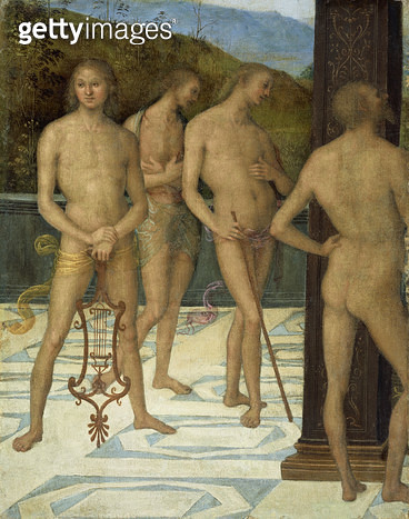 A Fragment: Four Male Nude Figures/ c.1505 (oil on canvas) - gettyimageskorea