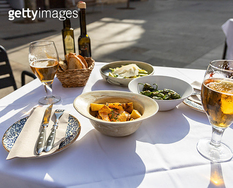 Beer and bread on a terrace - gettyimageskorea