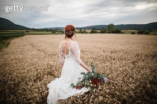 Beautiful bride portrait in a field - gettyimageskorea