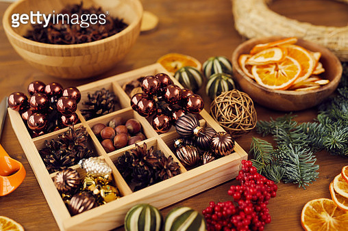 Wooden box for small Christmas decorations - gettyimageskorea