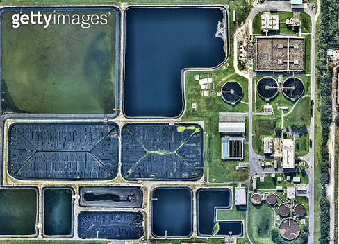 Aerial view of water treatment facility. Florida, USA - gettyimageskorea