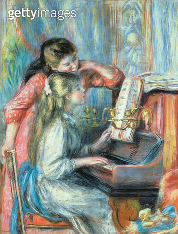 <b>Title</b> : Young Girls at the Piano, 1892 (gouache)<br><b>Medium</b> : gouache<br><b>Location</b> : Private Collection<br> - gettyimageskorea