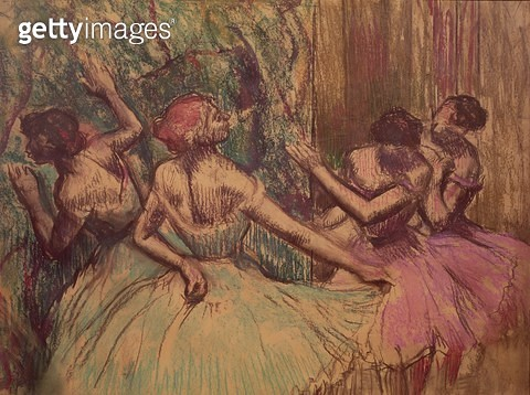 <b>Title</b> : Dancers in the Wings, c.1899 (pastel)<br><b>Medium</b> : pastel on paper<br><b>Location</b> : Private Collection<br> - gettyimageskorea