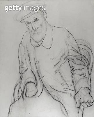 <b>Title</b> : Portrait of Pierre Auguste Renoir (1841-1919) Seated, 1919 (graphite & charcoal on paper) (b/w photo)<br><b>Medium</b> : graphite and charcoal on paper<br><b>Location</b> : Private Collection<br> - gettyimageskorea