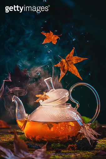 Natural tea, forest brew concept with glass teapot and falling autumn leaves. Magical food photography, seasonal drink concept with copy space - gettyimageskorea