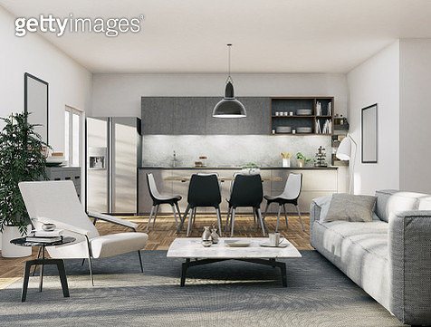 Apartment - Kitchen and Living area - gettyimageskorea
