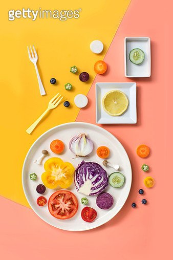 Flay lay colourful assorted vegan food still life. - gettyimageskorea