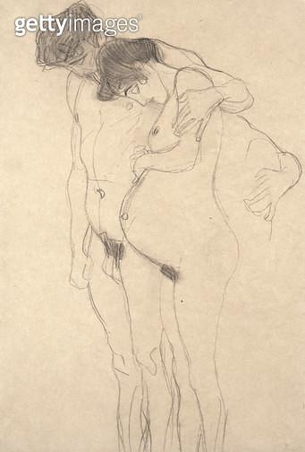 <b>Title</b> : Pregnant Woman with Man: Study for Hoffnung I, c.1903-4 (chalk, paper)<br><b>Medium</b> : black chalk on paper<br><b>Location</b> : Scottish National Gallery of Modern Art, Edinburgh, UK<br> - gettyimageskorea