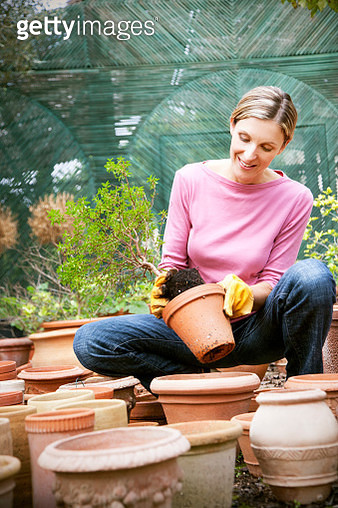 Young woman repotting a plant - gettyimageskorea
