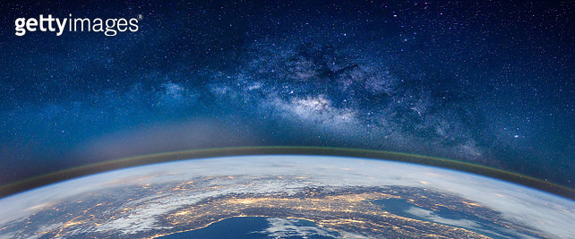 Fish-Eye Lens View Of Earth Against Star Field - gettyimageskorea