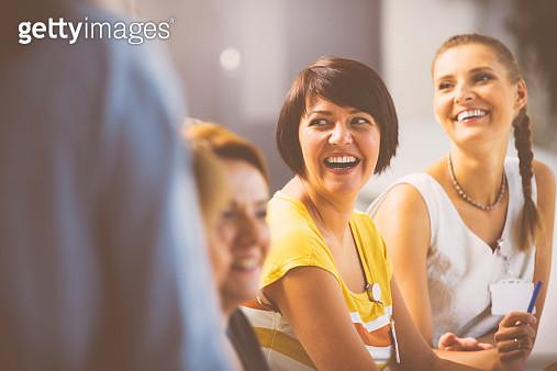Laughing women on seminar - gettyimageskorea