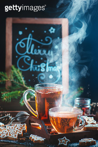 Cozy Christmas (with tea and cookies) - gettyimageskorea