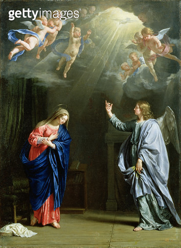 <b>Title</b> : The Annunciation, 1644 (oil on canvas)<br><b>Medium</b> : oil on canvas<br><b>Location</b> : Ferens Art Gallery, Hull City Museums and Art Galleries<br> - gettyimageskorea