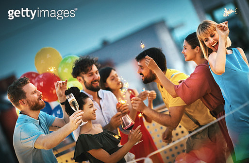 Rooftop birthday party. - gettyimageskorea