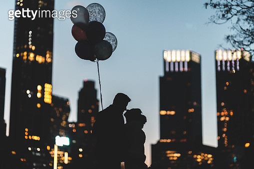 Bride and Groom Silhouette in Central Park - gettyimageskorea