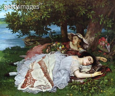 <b>Title</b> : Girls on the Banks of the Seine, 1856-57 (oil on canvas)<br><b>Medium</b> : oil on canvas<br><b>Location</b> : Musee de la Ville de Paris, Musee du Petit-Palais, France<br> - gettyimageskorea