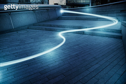 Fiber optic light trail communication technology streaming, concept - gettyimageskorea