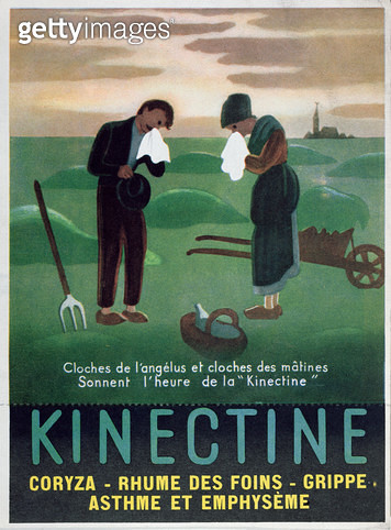 <b>Title</b> : Advertisement for 'Kinectine', inspired by 'The Angelus' by Jean-Francois Millet, c.1930 (colour litho)Additional Infocure for c<br><b>Medium</b> : <br><b>Location</b> : Private Collection<br> - gettyimageskorea