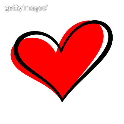 Hand drawn heart isolated. Design element for love concept. Doodle sketch red heart shape. - gettyimageskorea