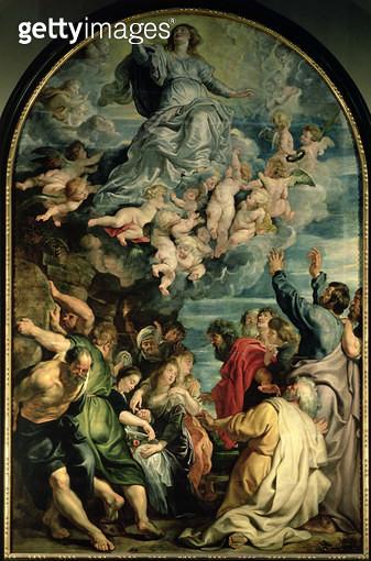 <b>Title</b> : The Assumption of the Virgin Altarpiece, 1611/14 (panel)<br><b>Medium</b> : oil on panel<br><b>Location</b> : Kunsthistorisches Museum, Vienna, Austria<br> - gettyimageskorea