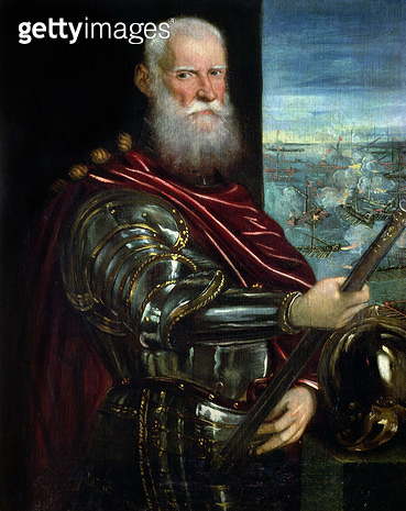 <b>Title</b> : Portrait of Sebastiano Vernier (d.1578) Commander-in-Chief of the Venetian forces in the war against the Ottoman Empire with the battle of Lepanto in the background, c.1571 (oil on canvas)<br><b>Medium</b> : oil on canvas<br><b>Location</b> - gettyimageskorea