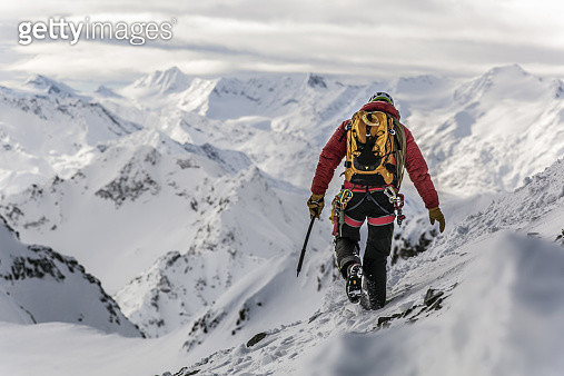 Male mountain climber in the Austrian Alps - gettyimageskorea