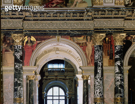 <b>Title</b> : Interior of the Kunsthistorisches Museum, Vienna, detail depicting archway and the spandrel decoration of figures depicting Ancient Greece and Ancient Egypt, Vienna, 1890/91 (mural)<br><b>Medium</b> : <br><b>Location</b> : Kunsthistorisches - gettyimageskorea