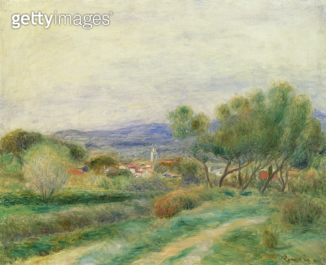 <b>Title</b> : View of La Seyne, Provence, c.1890 (oil on canvas)<br><b>Medium</b> : oil on canvas<br><b>Location</b> : Private Collection<br> - gettyimageskorea