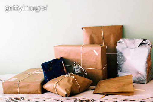Gift Boxes Against Wall - gettyimageskorea