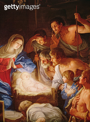 <b>Title</b> : The Adoration of the Shepherds, detail of the group surrounding Jesus (oil on canvas)<br><b>Medium</b> : oil on canvas<br><b>Location</b> : Museo Nazionale di San Martino, Naples, Italy<br> - gettyimageskorea